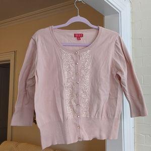Elle Women's Blush Pink Sweater Cardigan Lace